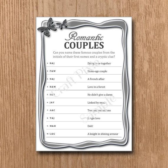 Romantic Couples Quiz Game  Metallic Butterfly  by TheCraftPixie