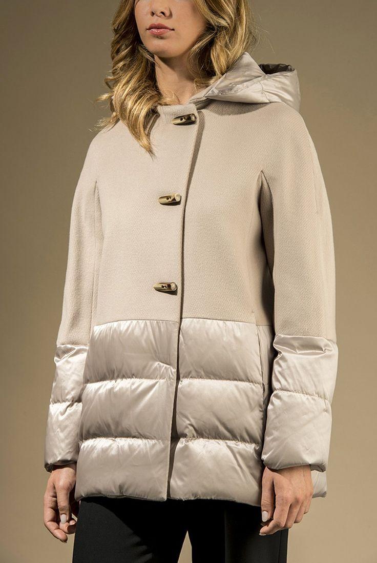 Giaccone in drap di pura lana con inserti in piuma d'oca - Giacconi - Cappotti e Giacconi