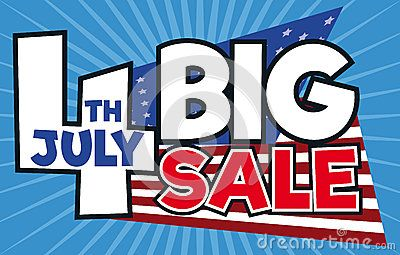 Giant number four promoting big sales for Independence Day celebration in July 4.