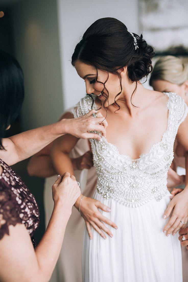 Romantic beaded Anna Campbell wedding dress   Raconteur Photography