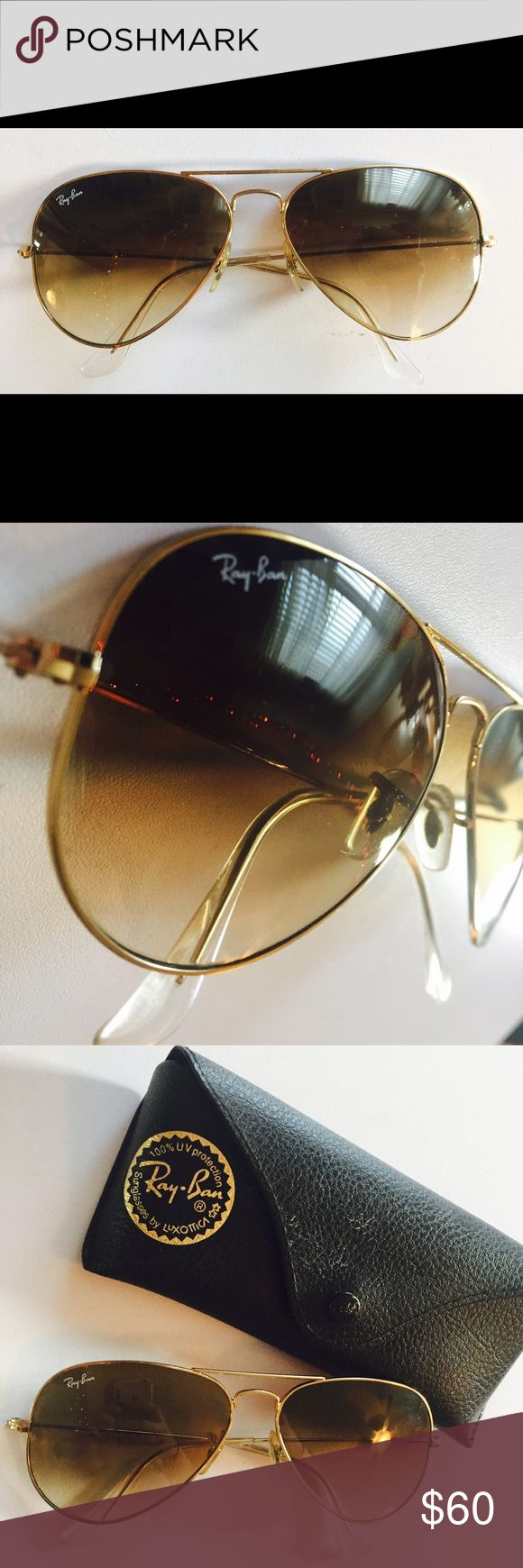 Ray-Ban RayBan Gold Aviator Sunglasses Aviators Barely worn! Basically brand new with very few if any scuffs or scratches. These RayBan Aviators are the slightly smaller size made for women, but they look great on anyone! Comes with the case ✨ Ray-Ban Accessories Sunglasses