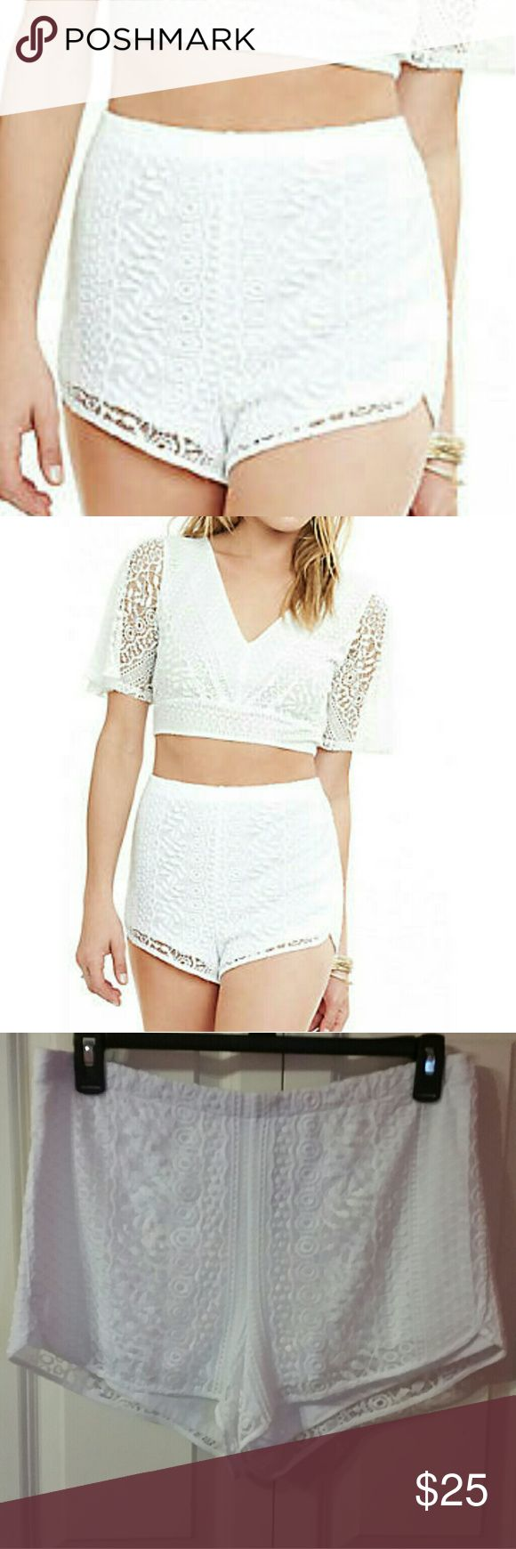 WHITE LACE SHORTS! Cute white lace overlay Express shorts Express Shorts