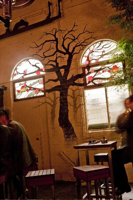 Simplesime, The Aviary stained glass & painted tree in beer garden