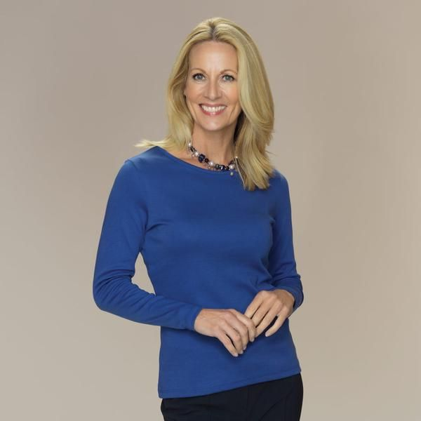 Rosella semi-fitted crew neck top long sleeves ultramarine blue
