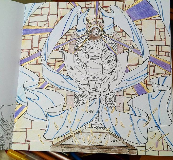 Easter Monday.  There is very little art depicting what happened in the Tomb during those three days. Here is our version found in our exclusive adult coloring book. A work-in-progress submitted to us.  #soulcoats #adultcoloring #adultcoloringbook #coloringbook #coloring #coloringbooks #colouring #color #art #arttherapy #colortherapy #coloringforgrownups #coloringforadults #pencils #easter #pens #adultcolouring