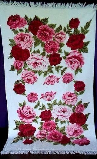 Vintage Cannon Bath Towel Pink Red Roses Flower Floral Bathroom Shabby 44 x 26