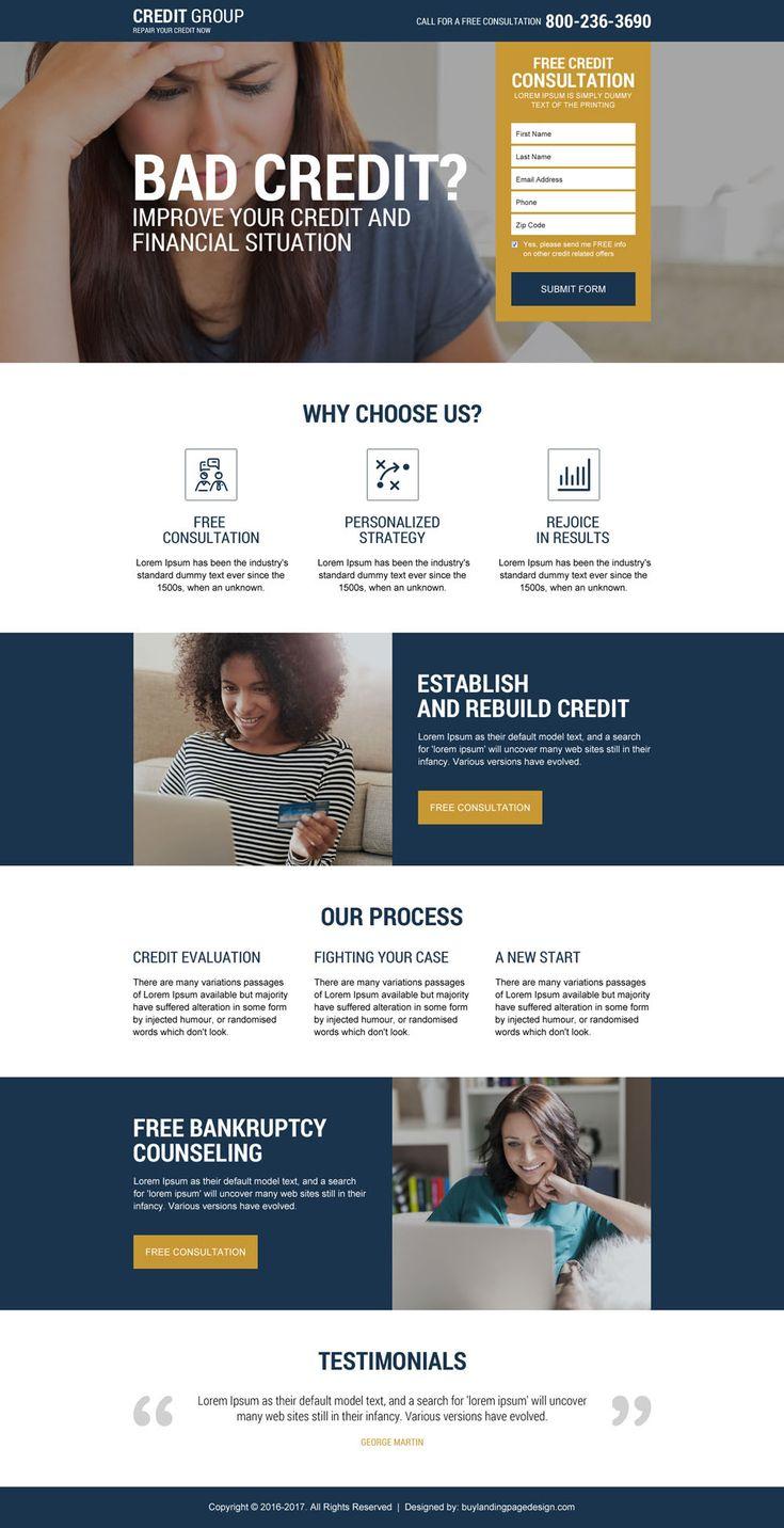 80 best credit repair landing page design images on. Black Bedroom Furniture Sets. Home Design Ideas