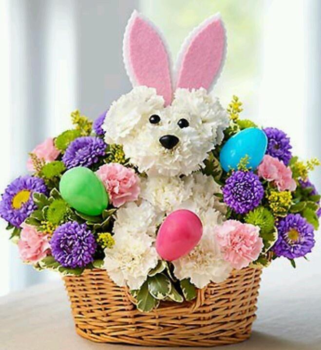 happy easter bunnies flowers-#1