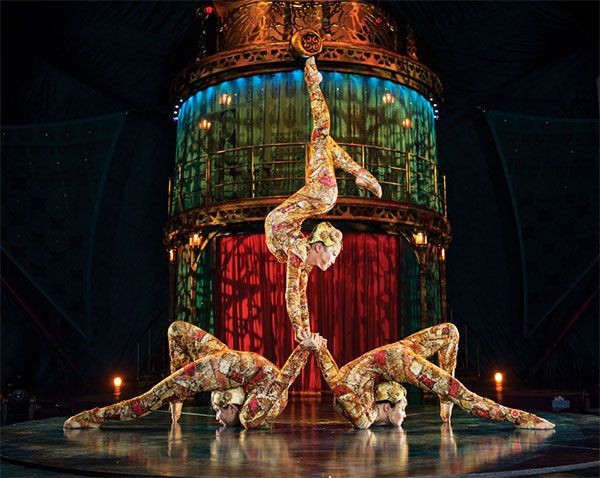 Performers KOOZA by Cirque du Soleil in Austin, Texas at Circuit of the Americas. Running through October 8, 2015.