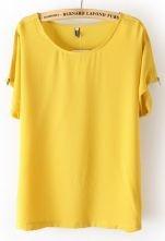 Yellow Batwing Sleeve Shoulder Zipper Loose T-Shirt $29.19