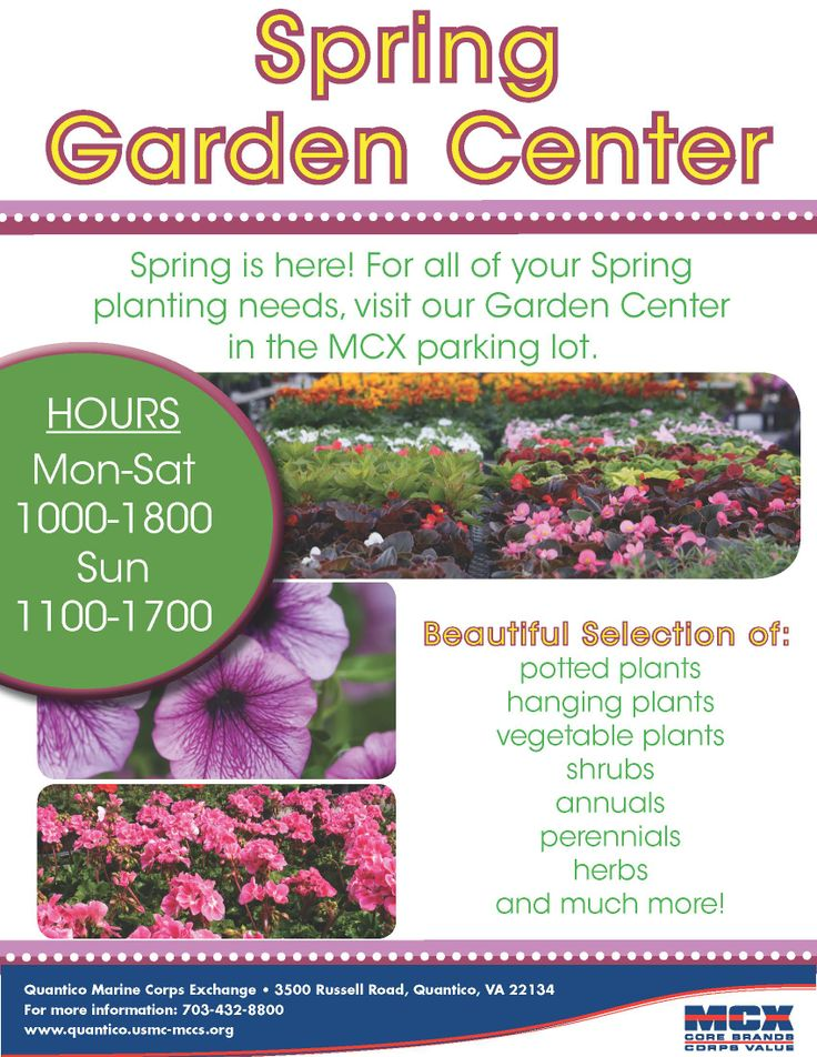 MCX Quantico Spring Garden Center NOW OPEN in MCX Parking Lot!