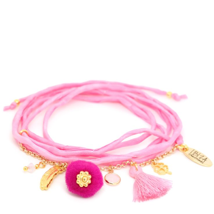 Cotton Candy Zijde Wikkel Armband ♡ available at www.ibizamusthaves.nl