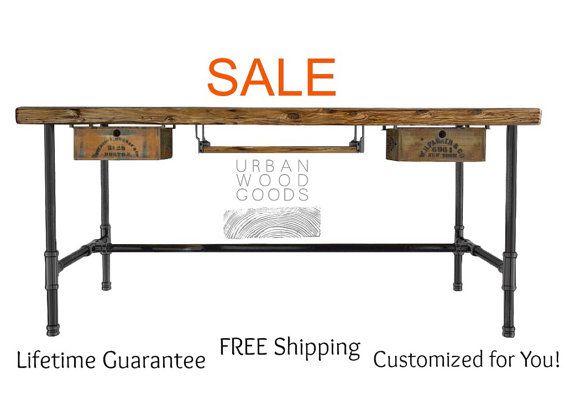 Modern+Reclaimed+Wood+Desk+with+pipe+legs+by+UrbanWoodGoods,+$495.00