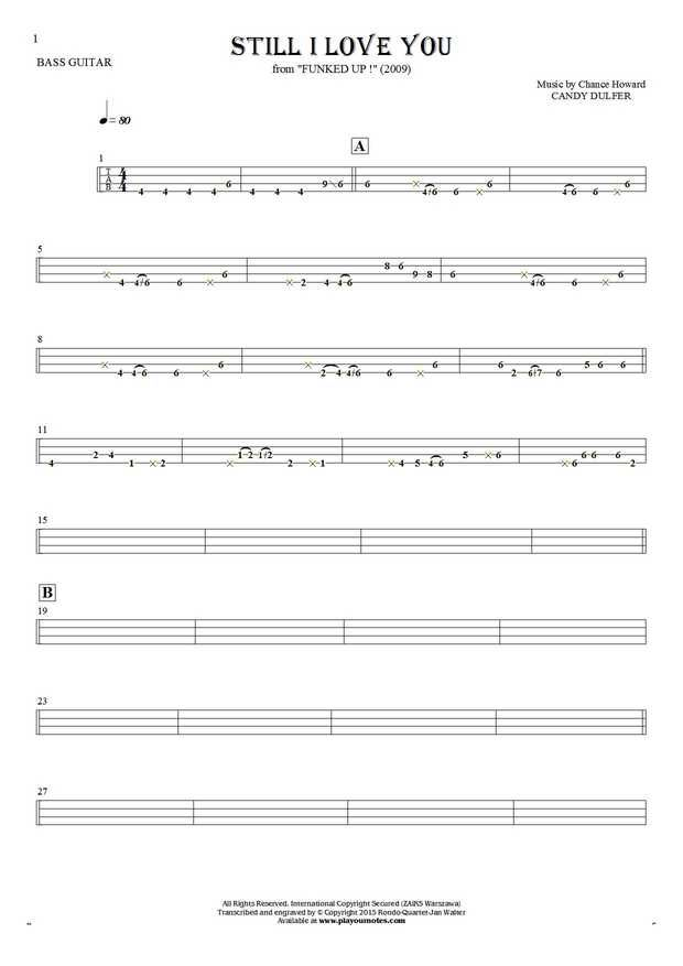 Still I Love You sheet music by Candy Dulfer. From album Funked Up! (2009). Part: Tablature for bass guitar.