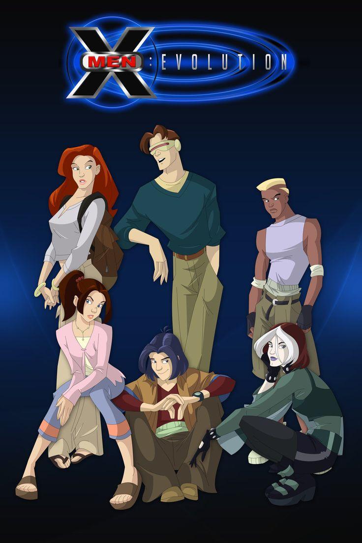 "X-Men Evolution. Jean Grey, Scott Summers, Evan Daniels, Katherine ""Kitty"" Pryde, Rogue, and Kurt Wagner"