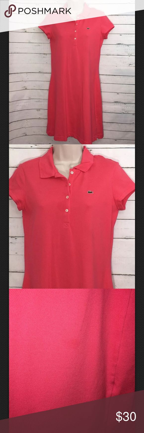 "Womens Lacoste Polo Short Sleeve Dress Womens Lacoste Shirt Dress Size 42 Coral Polo Short Sleeve Measurements  Bust 17.5""  Shoulder 14.5""  Length 35""   Good condition. Dress has spot on inside of dress above the hem and light oil spot on front of dress. Light fading around collar Lacoste Dresses"