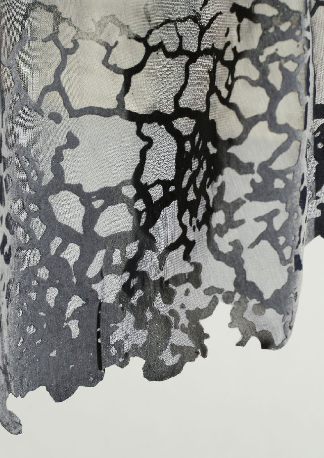 Textiles Design with cracked patterns using laser cutting, engraving, embroidery, heat pressing & flock // Barbara Medo