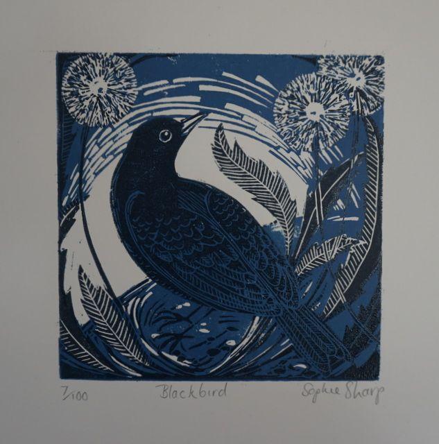 Blackbird linocut 15 x 15cm