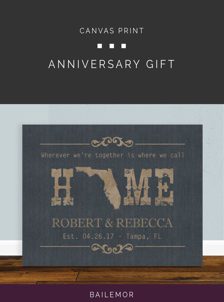 Anniversary Gift For Husband Or Wife Home State Print This Canvas Fami Personalized Anniversary Gifts First Wedding Anniversary Gift Paper Gifts Anniversary
