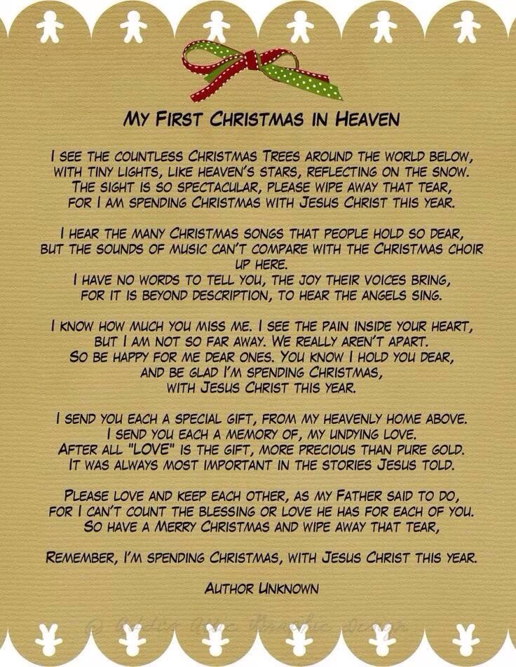 333 best poems images on pinterest words literature and poems my first christmas in heaven a phenomenal poem for those of us who have lost loved ones during the past year this beautiful poem was enclosed in a sympathy negle Choice Image