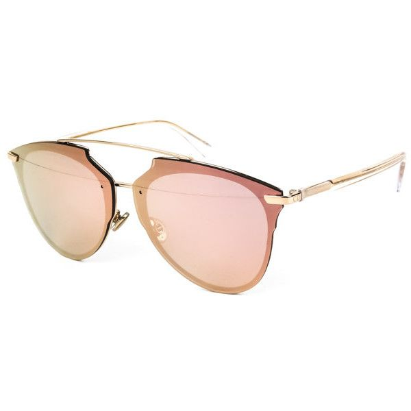 Dior REFLECTED P S5Z/RG Sunglasses (€350) ❤ liked on Polyvore featuring accessories, eyewear, sunglasses, gold crystal, mirror aviators, mirrored aviator sunglasses, christian dior glasses, mirrored sunglasses and mirrored aviator glasses