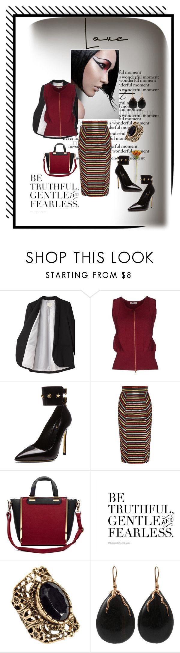 """She seeks gentle giant..."" by bossbabe1 ❤ liked on Polyvore featuring Band of Outsiders, BP Studio, Versace, L'Wren Scott, Sole Society, Tag, H&M and Lucifer Vir Honestus"