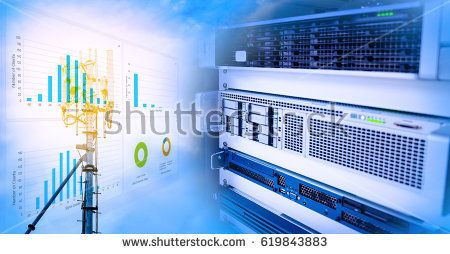 Virtual server for web and data server in data center room blending with Antenna tower and repeater of Communication and telecommunication with chart, graph