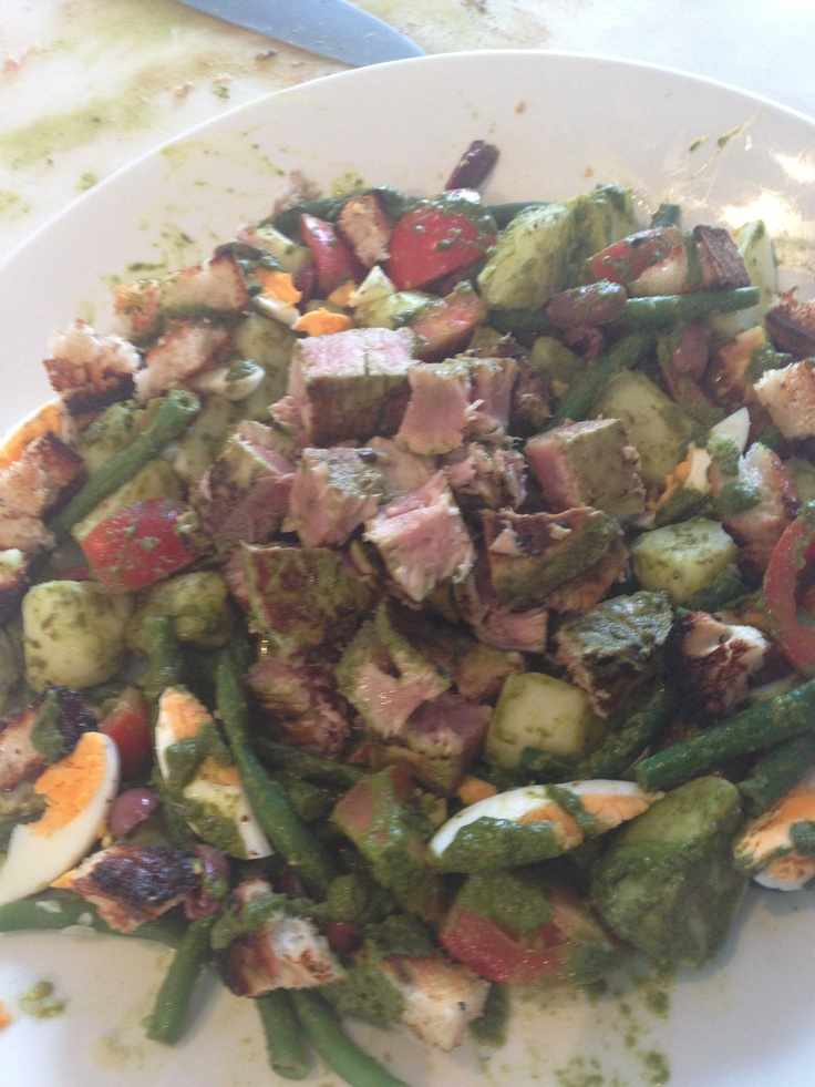 Seared tuna salad w new potatoe, tomato, beans, boiled eggs and black olives in a avocado and basil dressing
