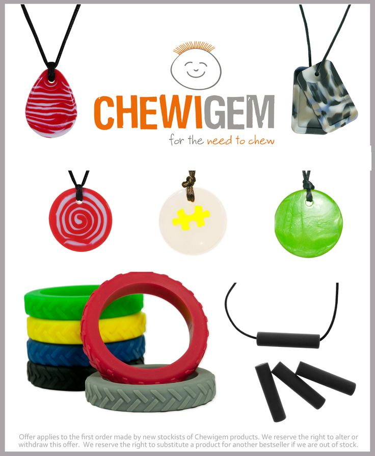Chewigem Chews resemble in looks, fashionable jewellery.  The most popular one for boys by far (in my experience) is the Dog Tags in Camo print! www.awesomeautismresources.com
