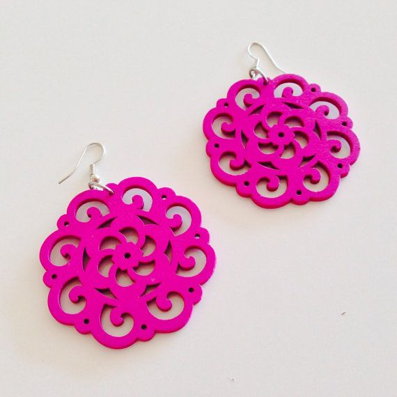 Our wonderfully hand-carved lightweight wooden earrings have an intricate design and are very easy to wear all day. Make a bold statement!  Size: 2 inch