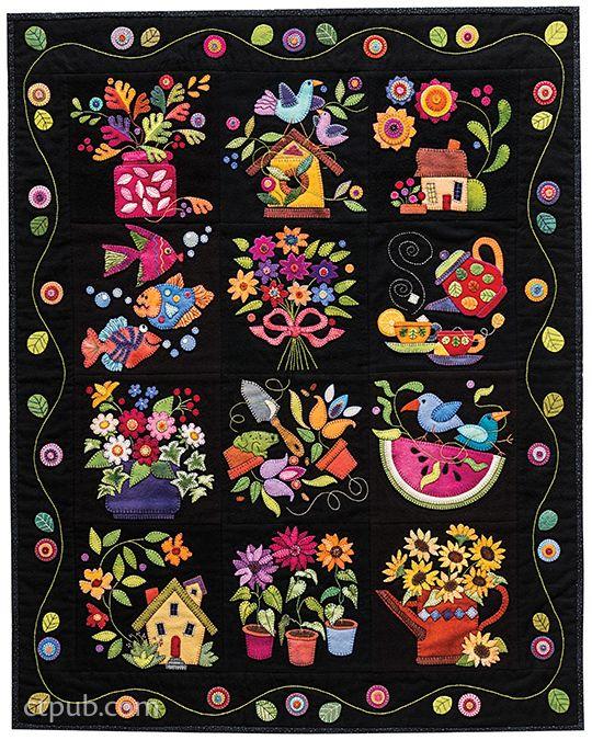 BOM Summertime Sampler - Wool Appliqué  - Auntie Ju's Quilt Shoppe
