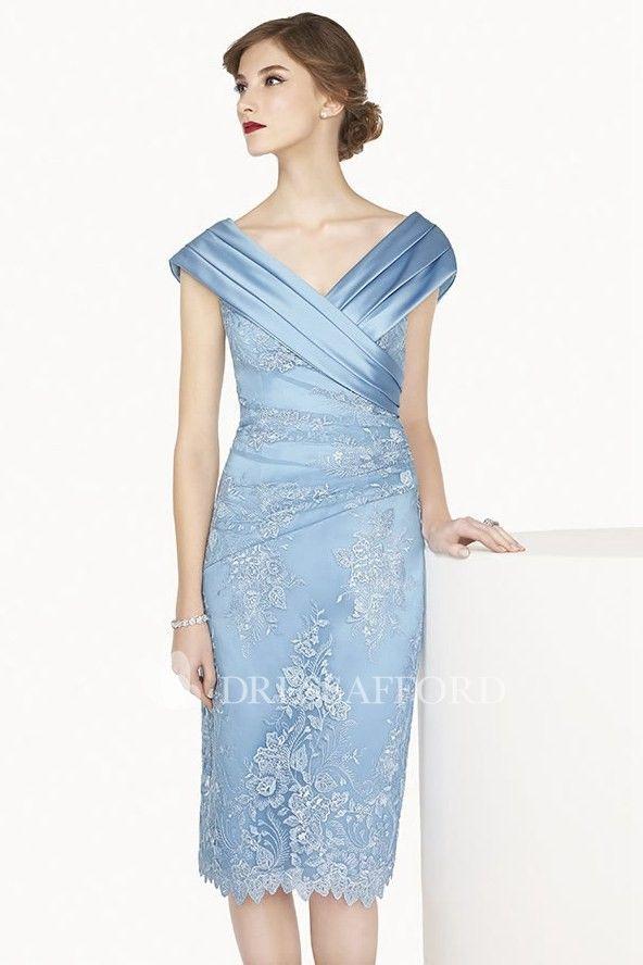 3c2f217090 Satin V Neck Cap Sleeve Sheath Knee Length Lace Prom Dress Shown In ...