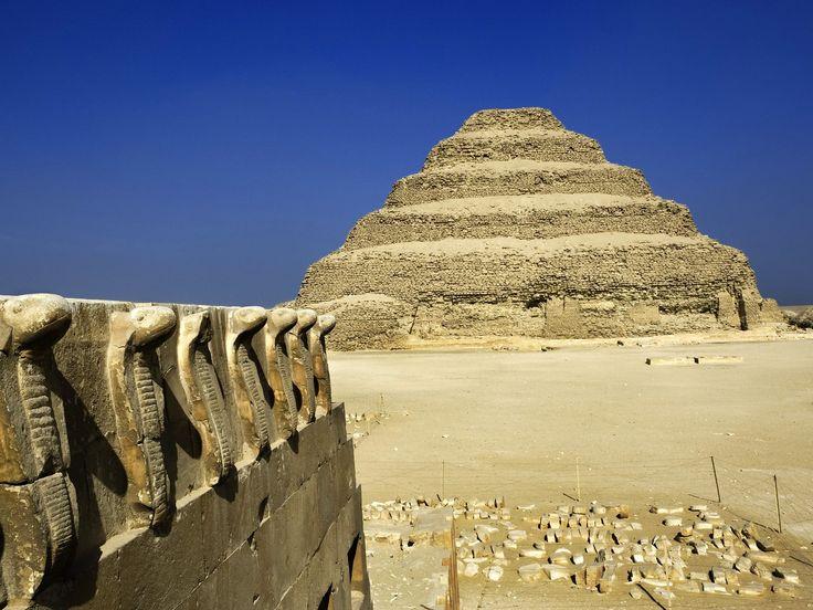 Cobra Figures and the Step Pyramid, Saqqara, Egypt - http://imashon.com/w/cobra-figures-and-the-step-pyramid-saqqara-egypt.html