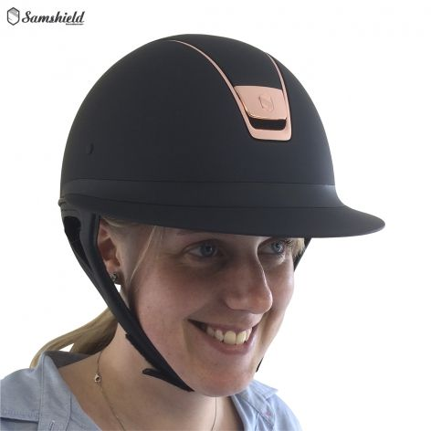 Samshield Miss Shield Navy Shadowmatt with Rose Gold Trim - £325.83. We're proud to introduce the stunning new Miss Shield riding hat from Samshield. Specifically designed for a classic women's style, the hat features a longer visor and frontal band for an elegant feminine finish.