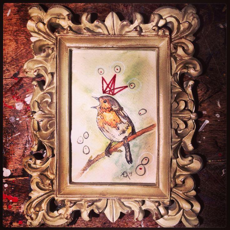 #aga #watercolor #bird #crown