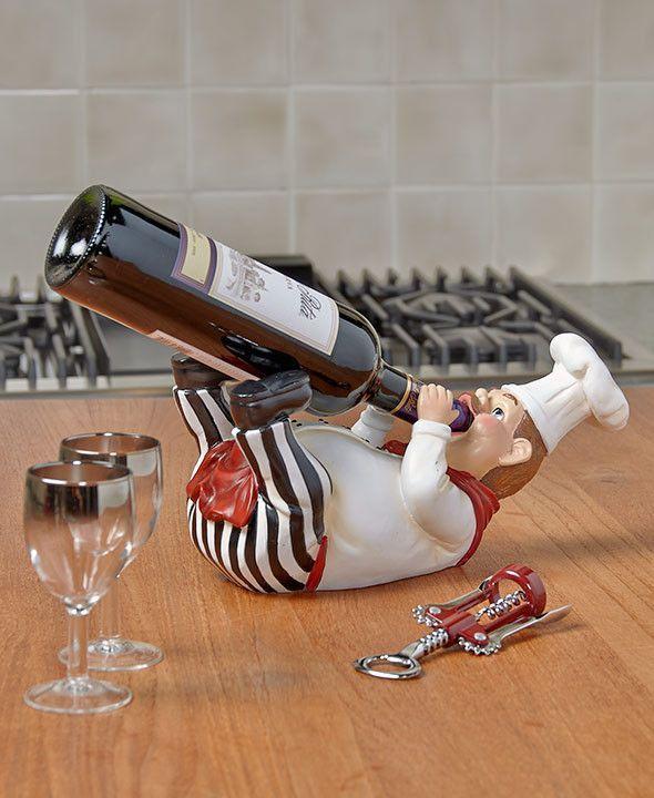 Delightful Bottle Holder Chef Themed Decor Kitchen Dining Italian Cook Olive Oil Hold