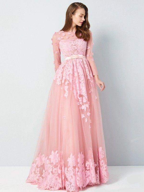 5ffdfe8ffa96 Stylish A-Line/Princess 3/4 Sleeves Floor-Length Scoop Applique Tulle  Dresses #dressesforweddings