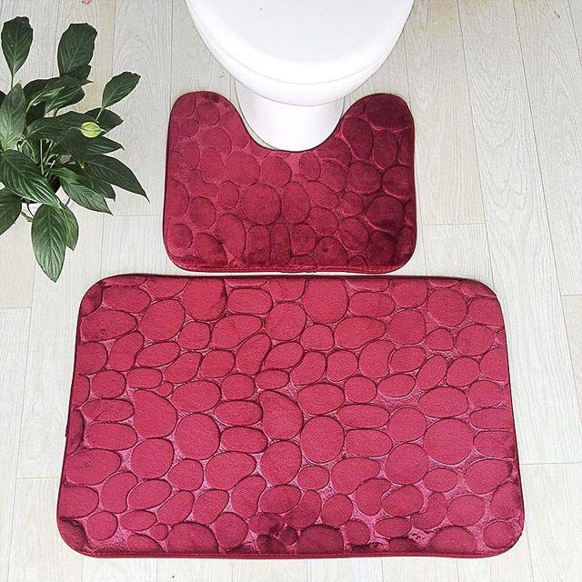 Bath Mat Set For Toilet 2 Pcs Set Shower Carpet For Bath Pvc Anti Slip Tape Bathroom Floor Mat Wc Matten Moder Bath Mat Sets Bathroom Floor Mat Bathroom Carpet