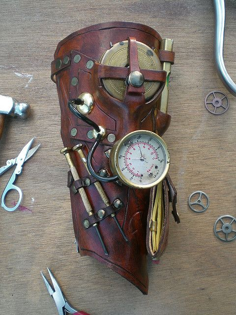 Steampunk bracer leather brass gauge tools - take the look more feminine and switch out for useful time-travel tools