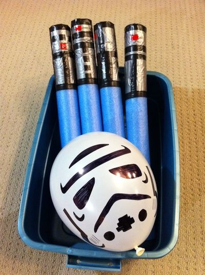 These light sabers are soft (safe!) and inexpensive; perfect to make for a Star Wars birthday party. Add in the storm trooper balloons and you have yourself your own balloon party game!