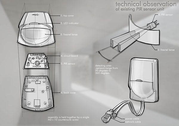 EXPLODED VIEW DRAWING - control panel and PIR sensor by Natalia Tofas, via Behance