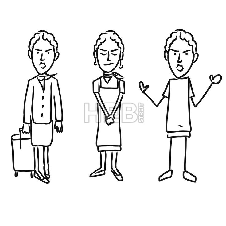 Three emotional woman characters. Hand-drawn sketched doodles in beautiful outfits and costumes. Modern vector illustration isolated in cartoon style.... ... #vector #doodle #sign #kids #kindergarten #sign #graphic #banner #design #hebstreit