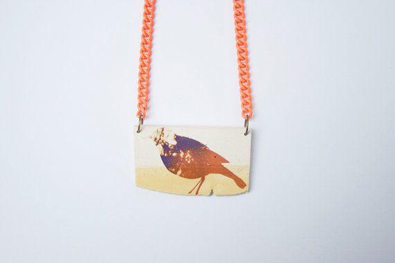 Bird Handmade Necklace. Handmade Jewelry. White Stoneware