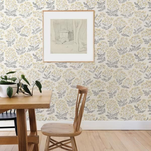 Nuwallpaper Yellow Wethersfield Yellow Vinyl Strippable Roll Covers 30 75 Sq Ft Nus3546 The Home Depot Nuwallpaper Peel And Stick Wallpaper Wood Feature Wall