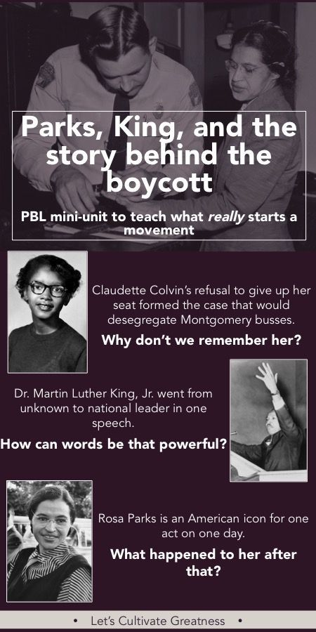 Challenge students to dig past the simplistic story we all hear as kids and explore the real story behind Rosa Parks, Martin Luther King, and the Montgomery Bus Boycott in this PBL mini-unit | Let's Cultivate Greatness