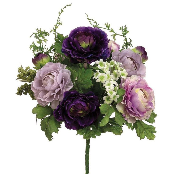 """Silk Flower Ranunculus and Fern Bush in Lavender and Royal Purple<br>10.5"""" Wide x 12"""" Tall"""