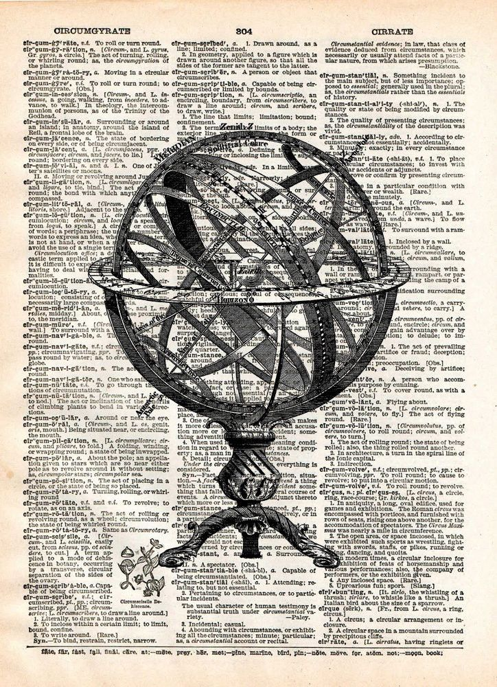 Armillary sphere, vintage globe, old map artwork