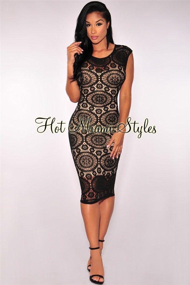 Illusion black lace midi dress