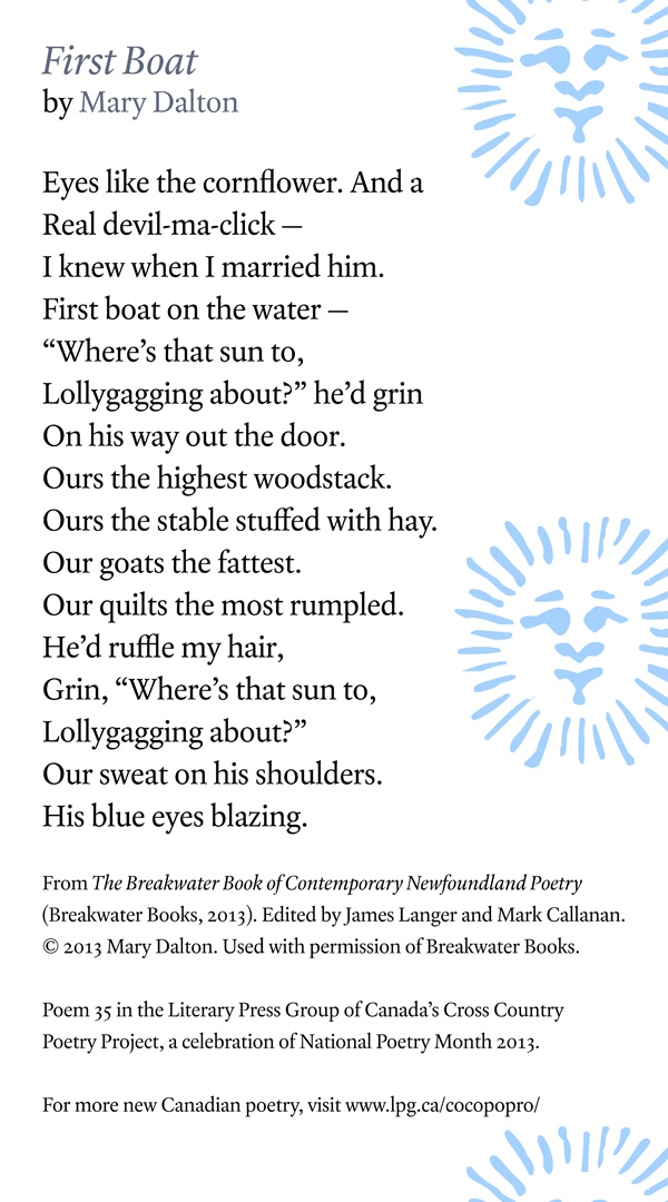 Poetry Month Day 29: First Boat by Mary Dalton from The Breakwater Book of Contemporary Poetry, edited by Mark Callanan and James Langer (Breakwater Books)