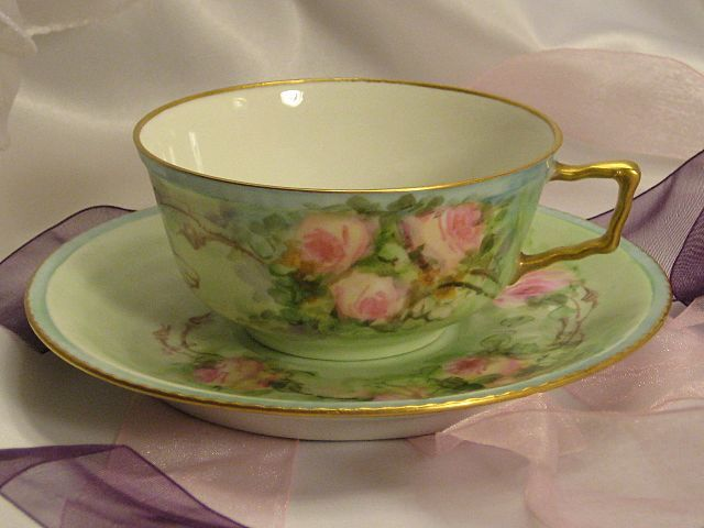 """FRENCH BABY PINK ROSES TEA CUP & SAUCER"" Antique Limoges France Teacup & Saucer Hand Painted Vintage Victorian Floral Art China Painting 19th Century American China Painter Circa 1900.  Via oldbeginningsantiques on Ruby Lane"